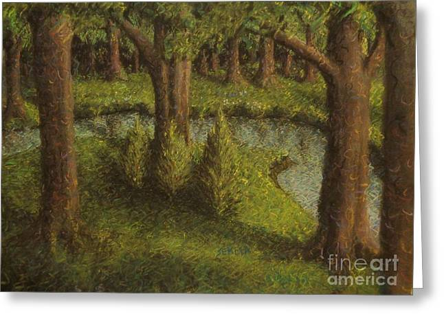 Tree Lines Pastels Greeting Cards - Untitled Greeting Card by John Sekela