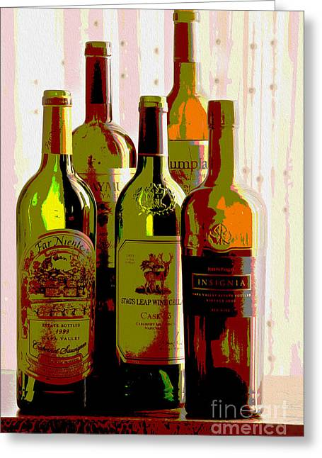 Red Wine Bottle Mixed Media Greeting Cards - Untitled Greeting Card by Jon Neidert