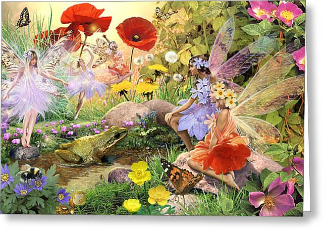 Fairies And Frog Prince Greeting Card by Steve Read
