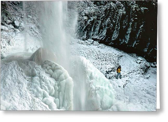Unusual Ice Formation, North Falls Greeting Card by Timothy Herpel