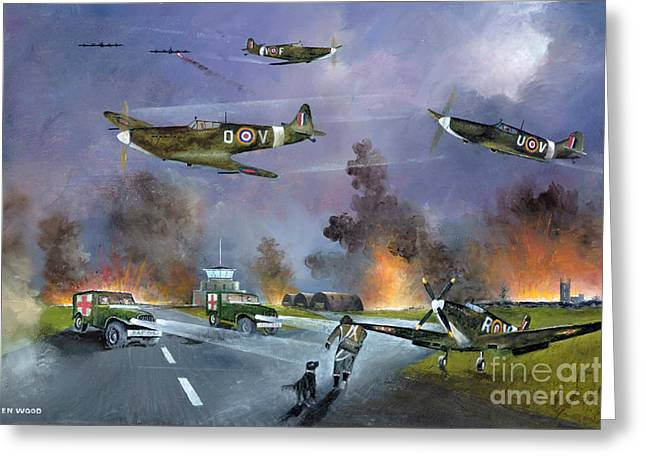 Airforce Paintings Greeting Cards - Up For The Chase Greeting Card by Ken Wood