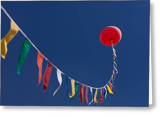 Helium Greeting Cards - Up in the air Greeting Card by Alexander Fedin