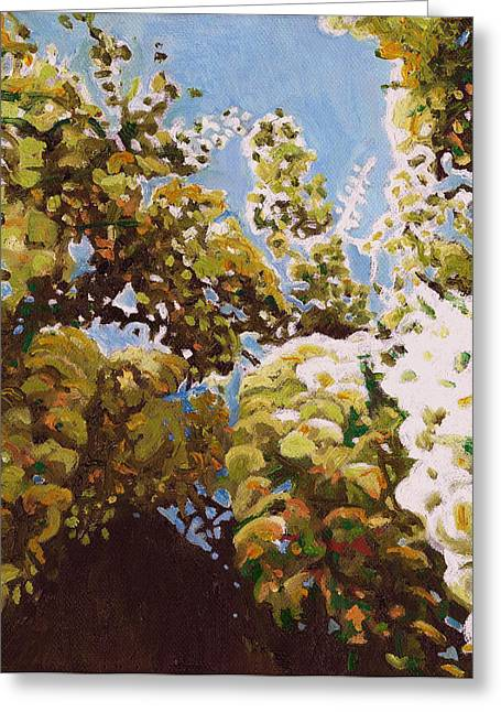 Blue And Green Greeting Cards - Up Into Wisteria Greeting Card by Helen White