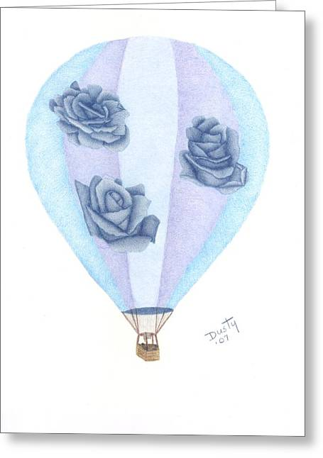 Balloon Flower Drawings Greeting Cards - Up Up and Away Greeting Card by Dusty Reed