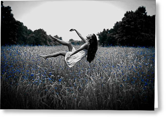 Floating Girl Greeting Cards - Uplift of Nature Greeting Card by Mountain Dreams