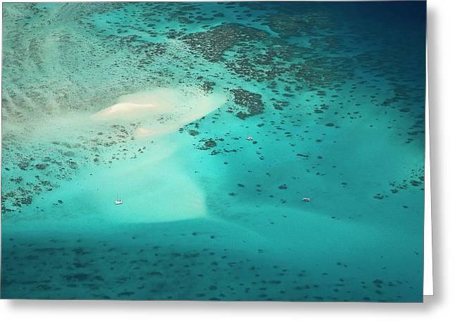 Upolu Cay And Dive Boats, Upolu Cay Greeting Card by David Wall