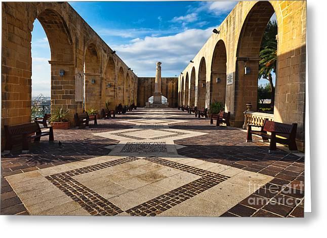 Maltese Greeting Cards - Upper Barrakka Gardens Malta Greeting Card by Frank Bach