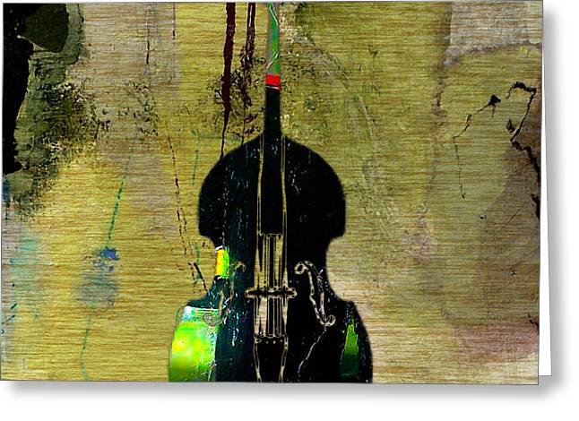 Stand Up Bass Greeting Cards - Upright Bass Greeting Card by Marvin Blaine