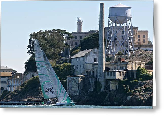 Alcatraz Greeting Cards - Upwind at Alcatraz Greeting Card by Steven Lapkin