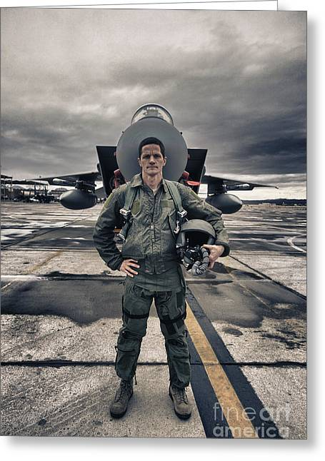 Full-length Portrait Photographs Greeting Cards - U.s. Air Force Pilot Standing In Front Greeting Card by Terry Moore