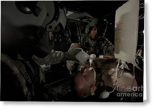 Medical Supplies Greeting Cards - U.s. Army Medics Simulating Ventilation Greeting Card by Terry Moore