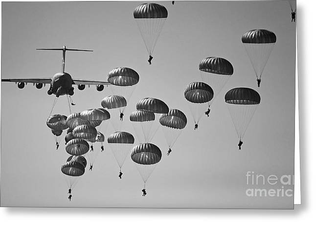 Air Raids Greeting Cards - U.s. Army Paratroopers Jumping Greeting Card by Stocktrek Images