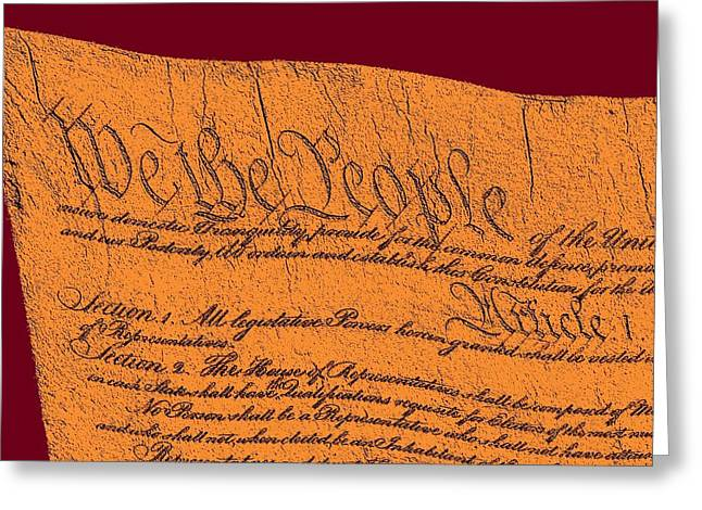 Marbel Greeting Cards - US Constitution Closeup Sculpture Violet Red Background Greeting Card by L Brown