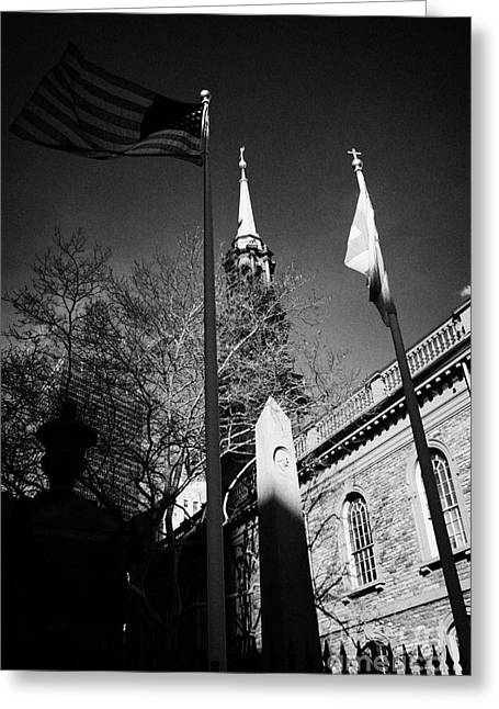 Manhaten Greeting Cards - US flag flying outside St Pauls Chapel ground zero new york city Greeting Card by Joe Fox