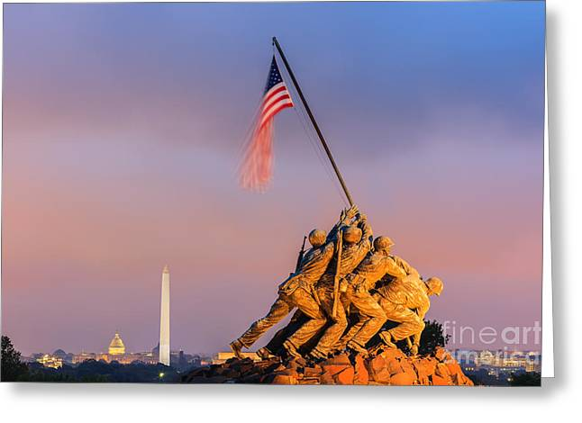 Image Of Morning Glory Greeting Cards - US Marine Corps War Memorial Greeting Card by Henk Meijer Photography