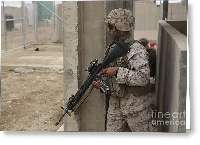 Military Base Greeting Cards - U.s. Marine Provides Security At Camp Greeting Card by Stocktrek Images
