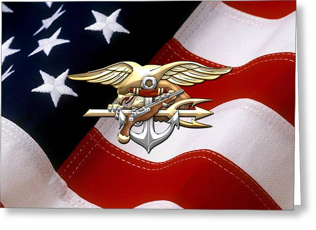 Militaria Greeting Cards - U. S. Navy S E A Ls Emblem over American Flag Greeting Card by Serge Averbukh