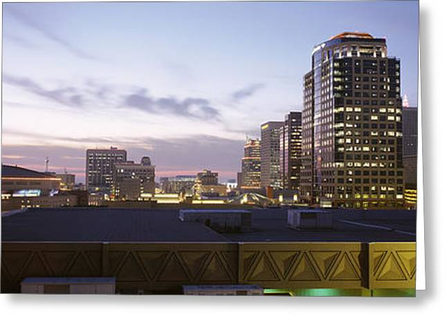 Phoenix Architecture Greeting Cards - Usa, Arizona, Phoenix, Skyline At Dusk Greeting Card by Panoramic Images