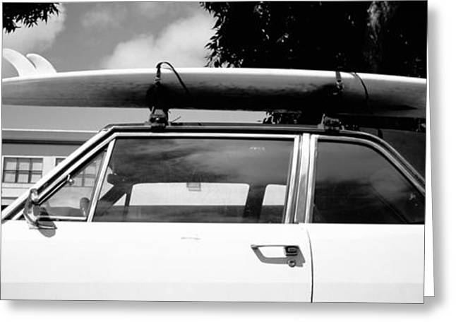 Anticipation Photographs Greeting Cards - Usa, California, Surf Board On Roof Greeting Card by Panoramic Images