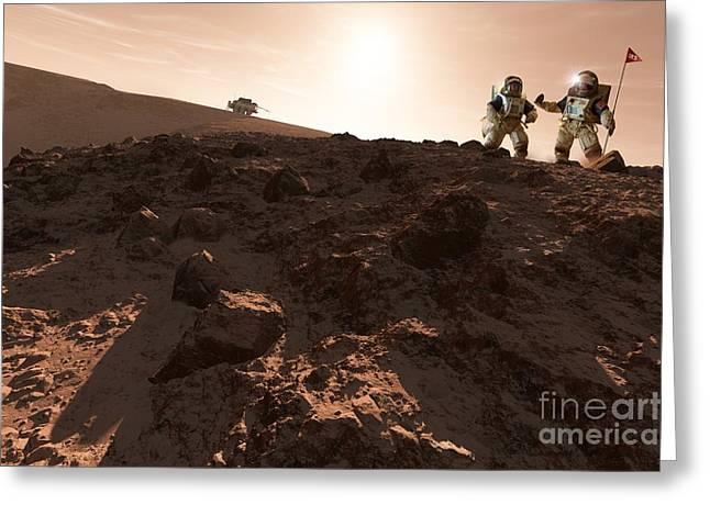 Yang Greeting Cards - Usa-china Exploration Of Mars, Artwork Greeting Card by Detlev van Ravenswaay
