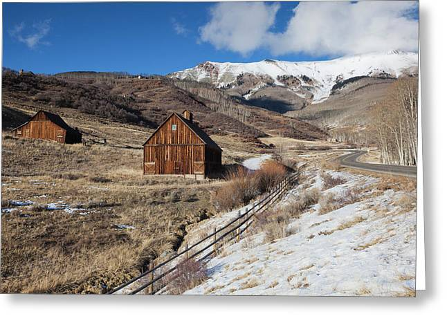 Usa, Colorado, Telluride, Wood Barns Greeting Card by Walter Bibikow