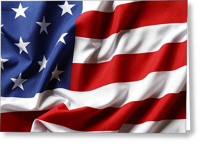 Flags Flying Greeting Cards - USA flag Greeting Card by Les Cunliffe