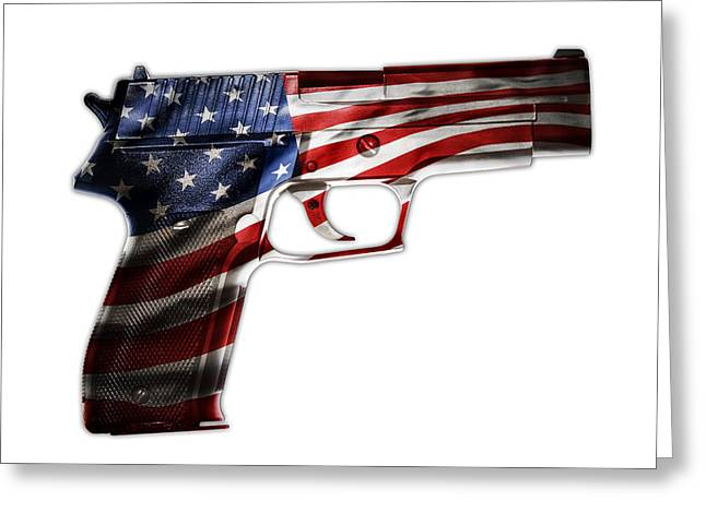 Violence Greeting Cards - USA gun  Greeting Card by Les Cunliffe