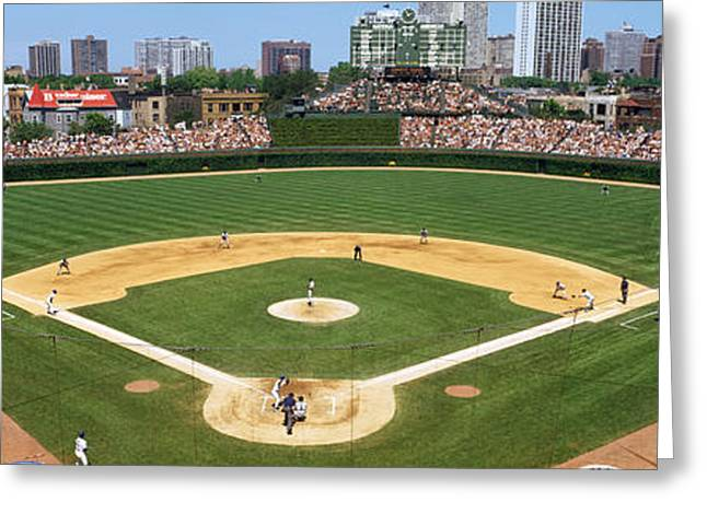 Sports Fields Greeting Cards - Usa, Illinois, Chicago, Cubs, Baseball Greeting Card by Panoramic Images