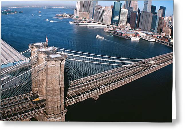 Urban Buildings Greeting Cards - Usa, New York, Brooklyn Bridge, Aerial Greeting Card by Panoramic Images