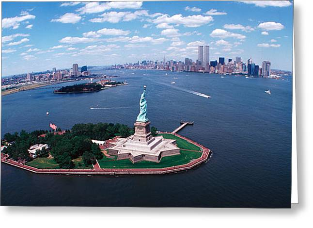Curvature Greeting Cards - Usa, New York, Statue Of Liberty Greeting Card by Panoramic Images