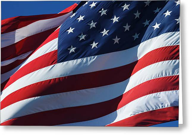 Usa, Oregon, Hood River, Us Flag Greeting Card by Rick A Brown