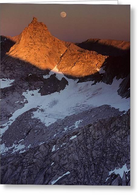 Usa, Sawtooth Peak, Sunset, Moonrise Greeting Card by Gerry Reynolds