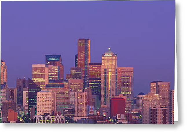 Office Space Greeting Cards - Usa, Washington, Seattle, Cityscape Greeting Card by Panoramic Images