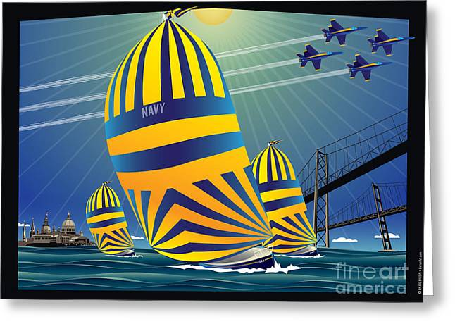Ocean Sailing Greeting Cards - USNA High Noon Sail Greeting Card by Joe Barsin