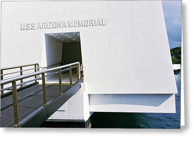 Memorial Photography Greeting Cards - Uss Arizona Memorial, Pearl Harbor Greeting Card by Panoramic Images