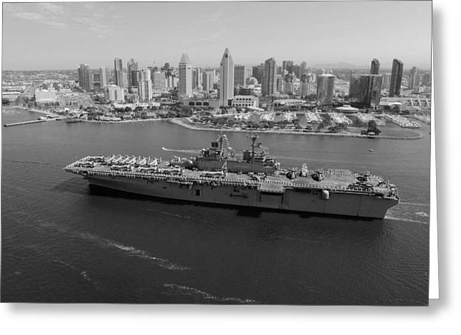 Ocean. Reflection Greeting Cards - USS Boxer in San Diego  Greeting Card by Mountain Dreams