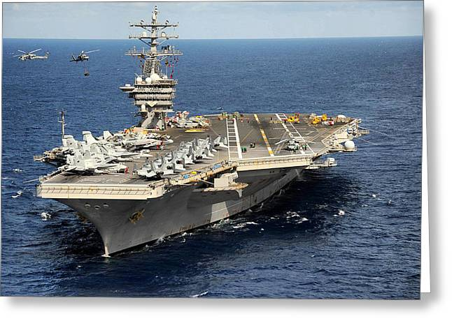 Naval Aircraft Greeting Cards - USS Dwight D. Eisenhower Greeting Card by Mountain Dreams