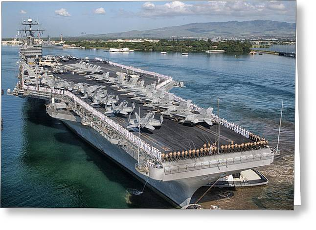 Naval Aircraft Greeting Cards - USS John C. Stennis Greeting Card by Mountain Dreams