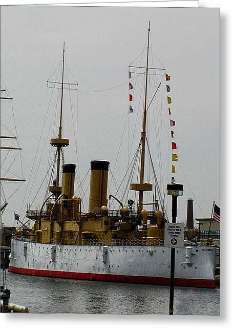 Phila Greeting Cards - USS Olympia Greeting Card by Bill Cannon