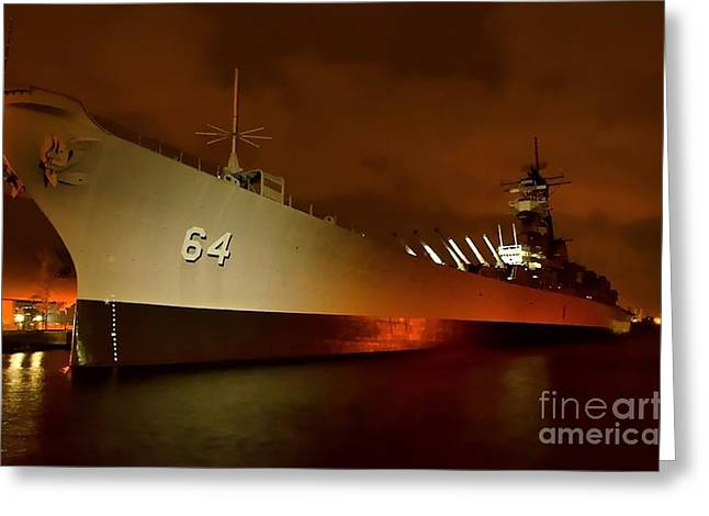 Uss Wisconsin Greeting Card by Mike Baltzgar
