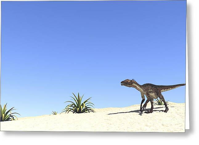 Dromaeosaurid Greeting Cards - Utahraptor In A Desert Landscape Greeting Card by Kostyantyn Ivanyshen