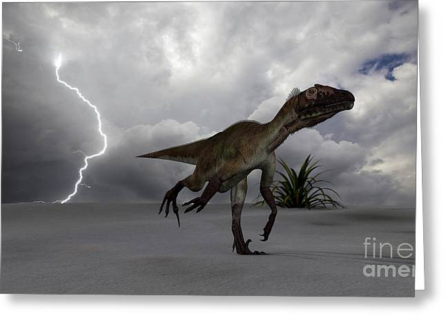 Images Lightning Digital Art Greeting Cards - Utahraptor Running Across A Desert Greeting Card by Kostyantyn Ivanyshen