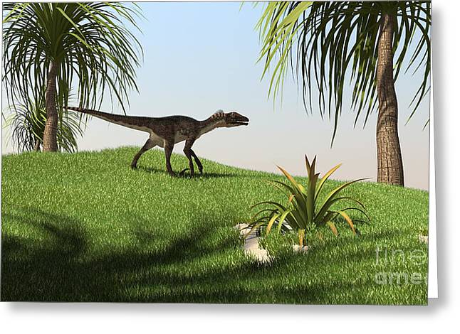 Dromaeosaurid Greeting Cards - Utahraptor Walking Across A Grassy Greeting Card by Kostyantyn Ivanyshen
