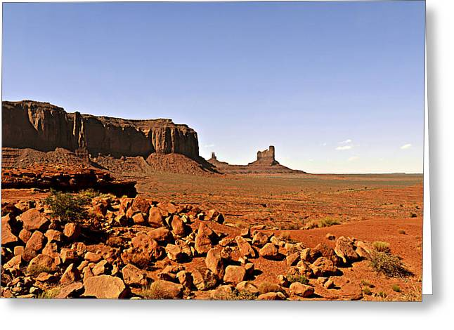 Butte Greeting Cards - Utahs iconic Monument Valley Greeting Card by Christine Till