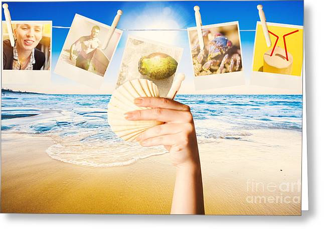 Seashell Picture Photographs Greeting Cards - Vacation woman with photos from summer holiday Greeting Card by Ryan Jorgensen