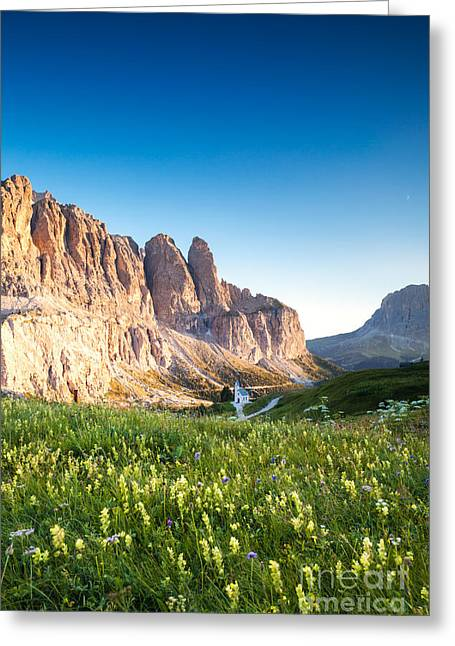 Italian Sunset Greeting Cards - Val gardena from passo Gardena with Sassolungo peak Greeting Card by Matteo Colombo