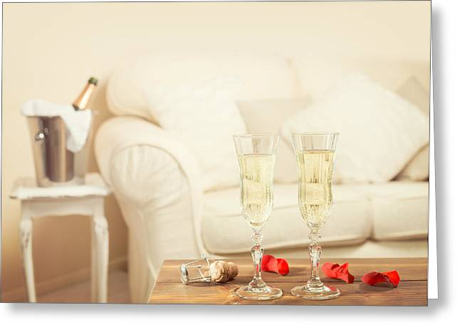 Lounge Photographs Greeting Cards - Valentines Day Champagne Greeting Card by Amanda And Christopher Elwell