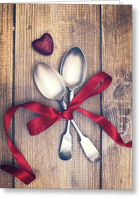 Valentine Greeting Cards - Valentines Day Spoons Greeting Card by Amanda And Christopher Elwell