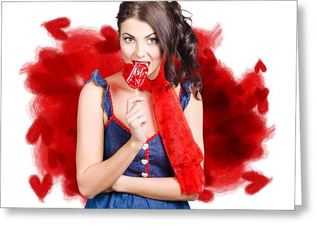 Valentines Day Woman Eating Heart Candy Greeting Card by Jorgo Photography - Wall Art Gallery