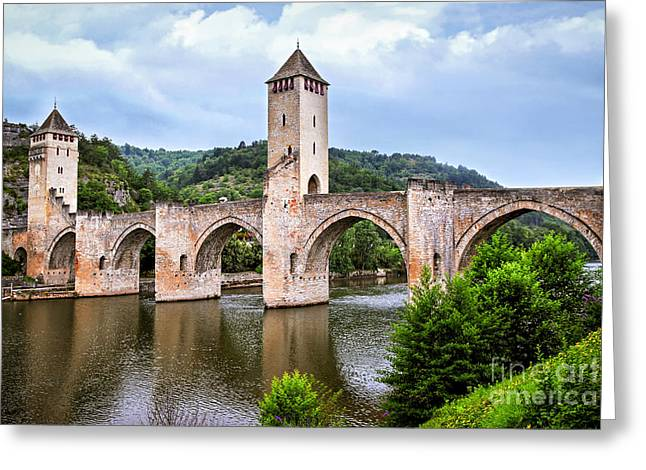 Fortification Greeting Cards - Valentre bridge in Cahors France Greeting Card by Elena Elisseeva